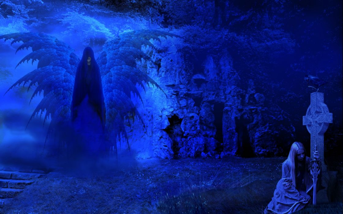 fantasy dark horror angel ghost mood weapons sword women cross manip cg digital art wallpaper