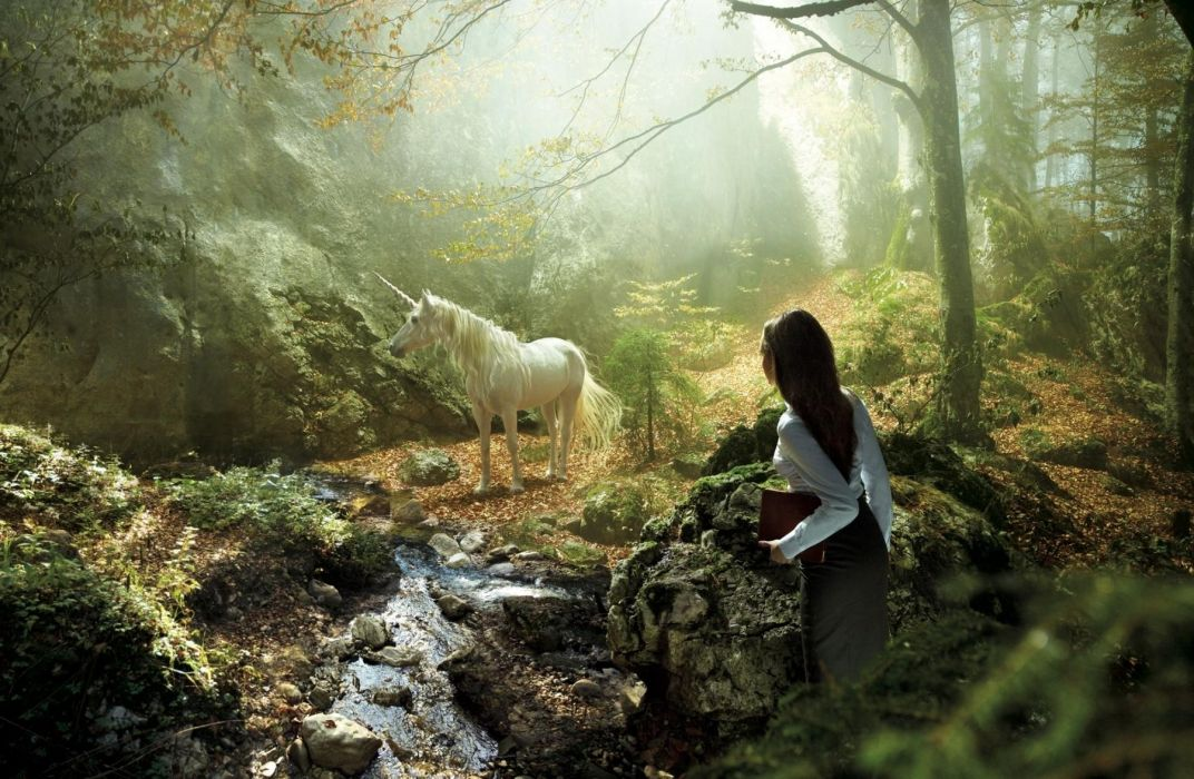 fantasy unicorn trees forest landscapes manip cg digital art women mood magic wallpaper