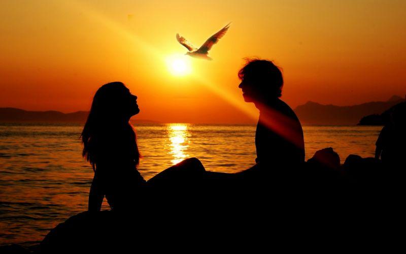 love romance mood men women sunset birds wallpaper