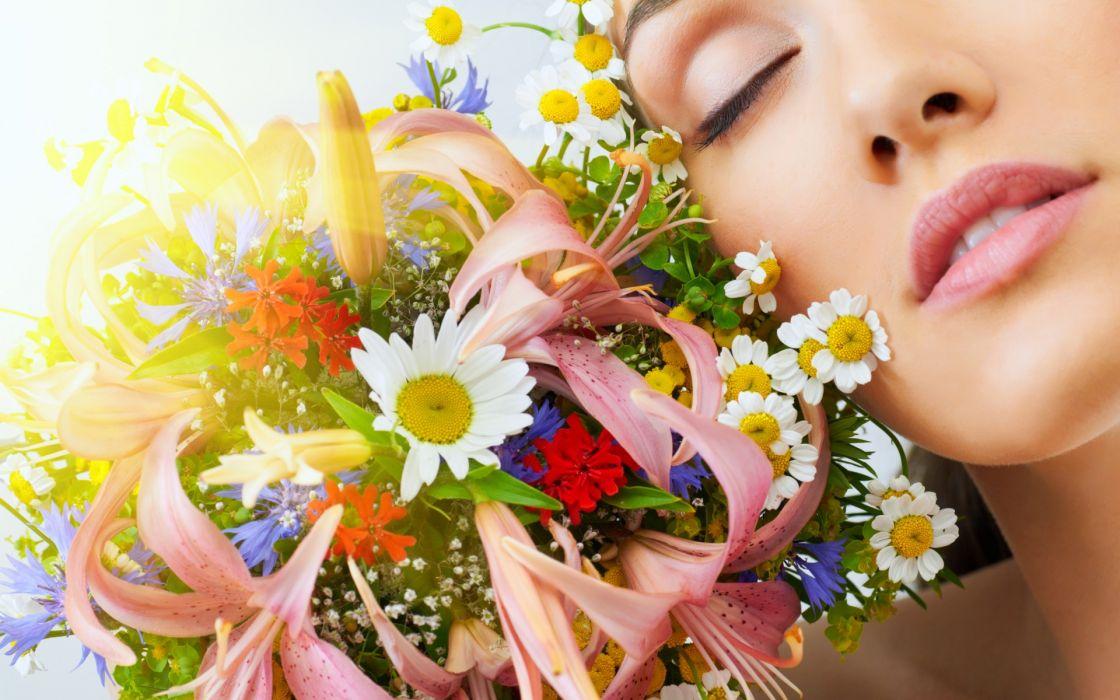 women model fashion face flowers bouquet mood wallpaper
