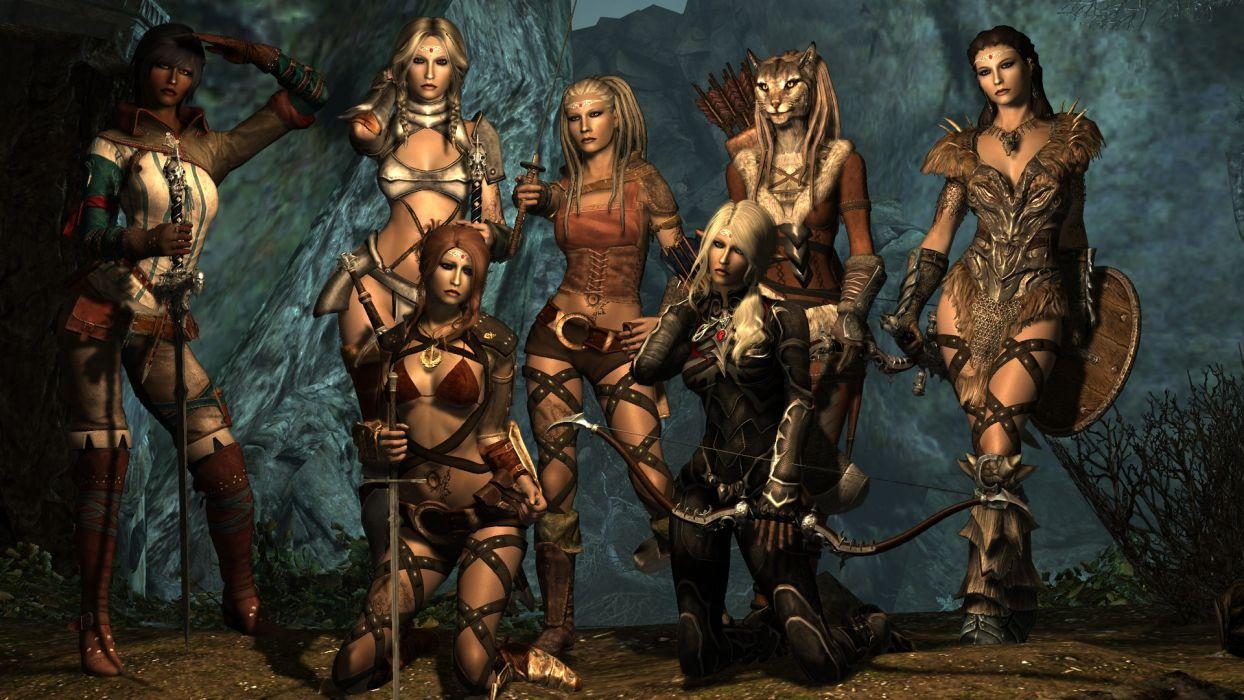 3D Sexy Game 3d fantasy women warriors sexy babes cg digital art weapons