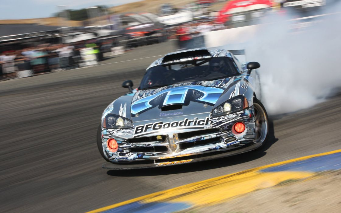 Dodge Viper tuning drifting racing cars track smoke burnout wallpaper