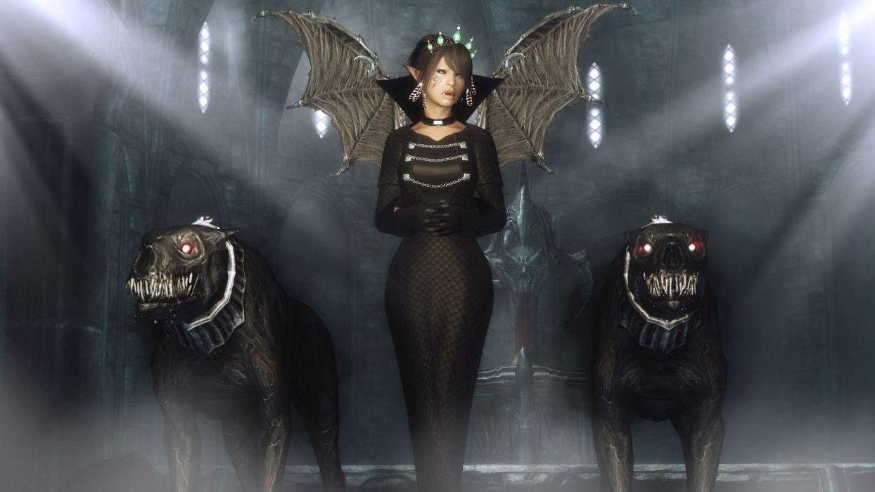 dark horror fantasy gothic occult vampire demon evil monster beast cg digital art wallpaper