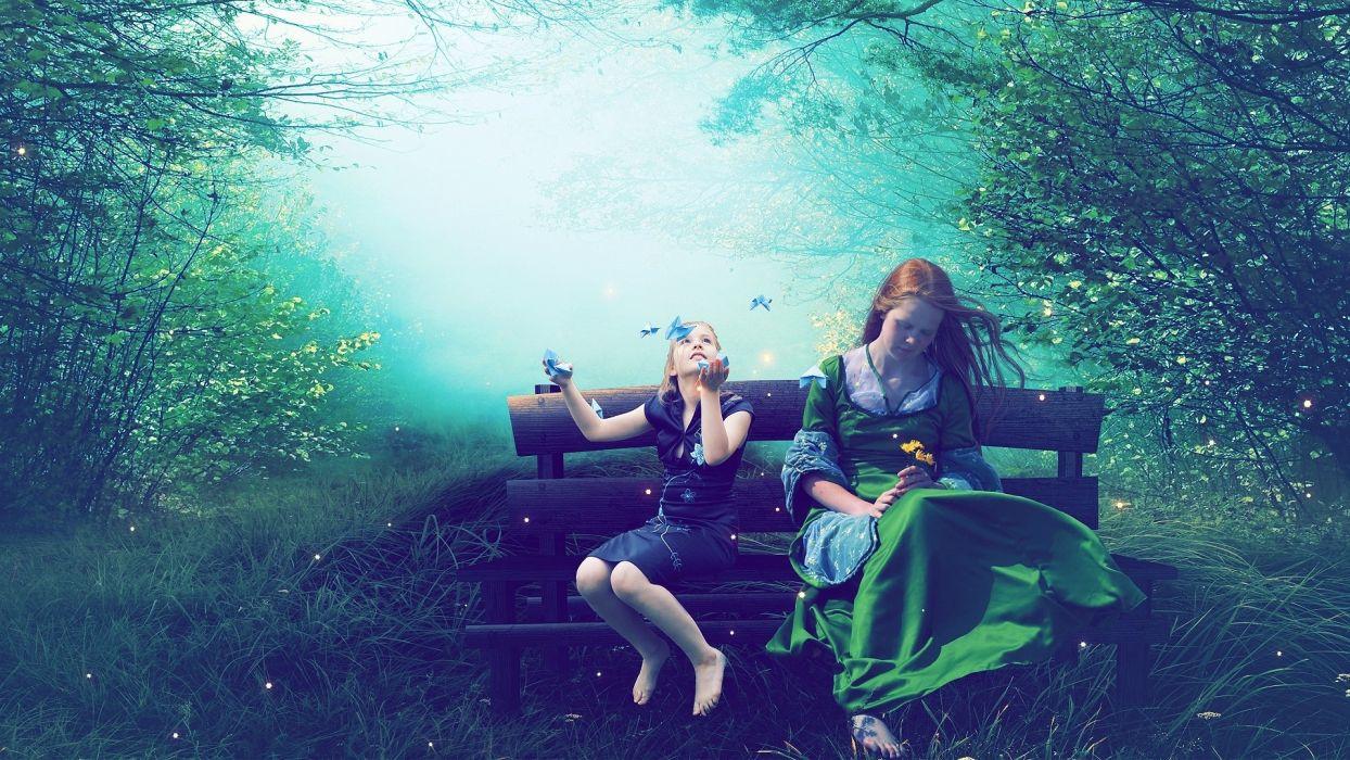 cg digital art manip fantasy dream magic trees forest soft mood butterfly girl children women happy joy wallpaper