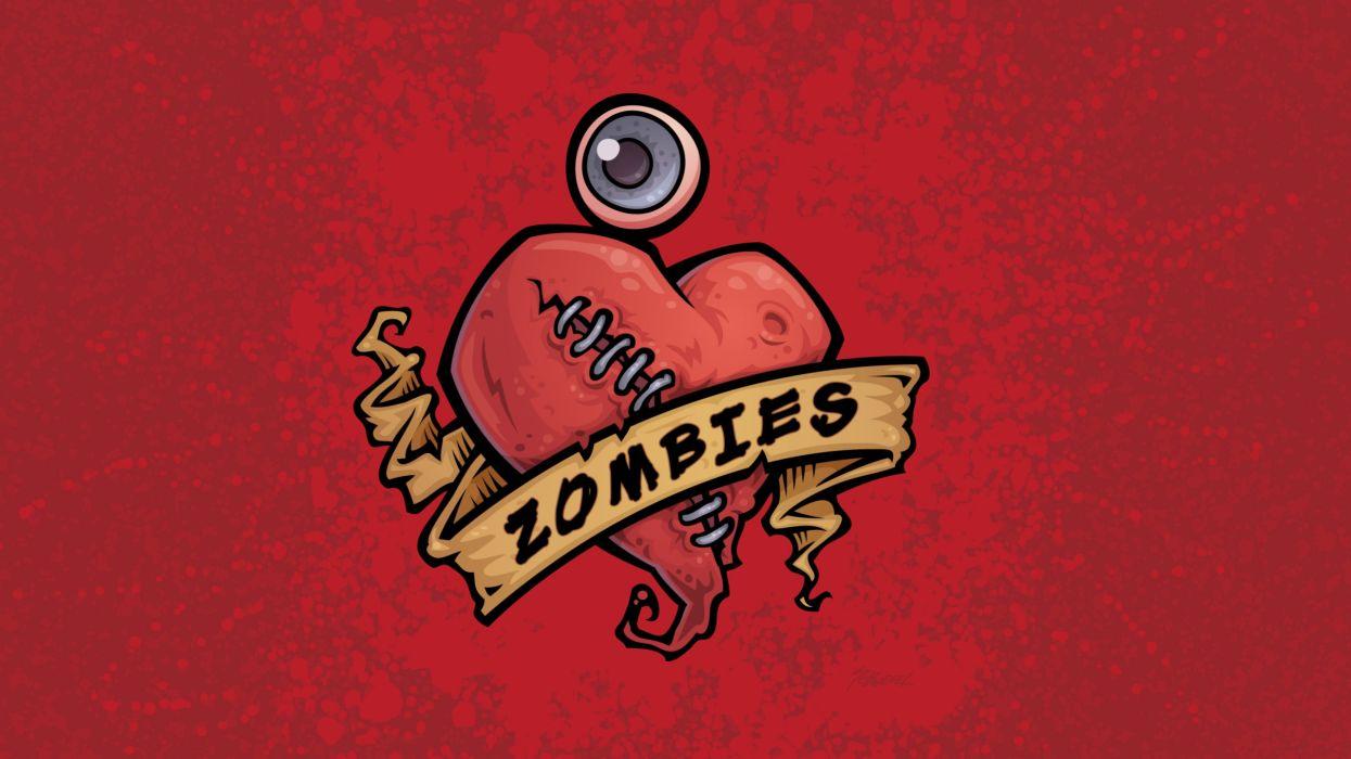 dark horror heart love romance zombie wallpaper