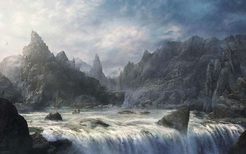 art paintings fantasy landscapes mountains fog mist castle wallpaper