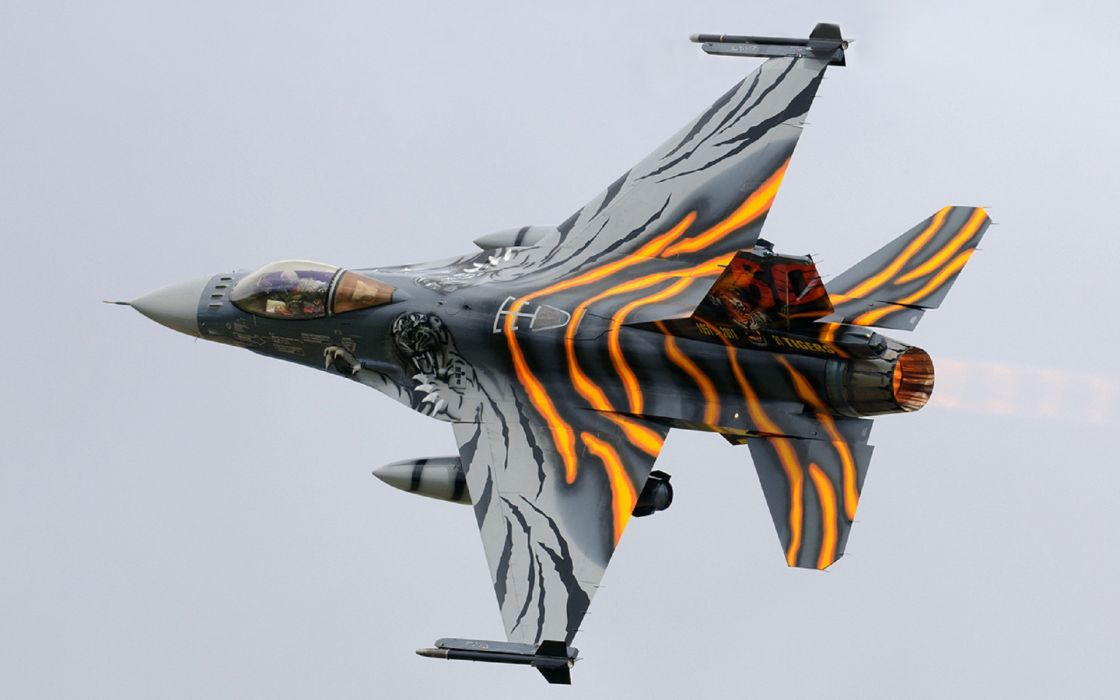 F-16am fighter fighting falcon jet military weapon tiger wallpaper
