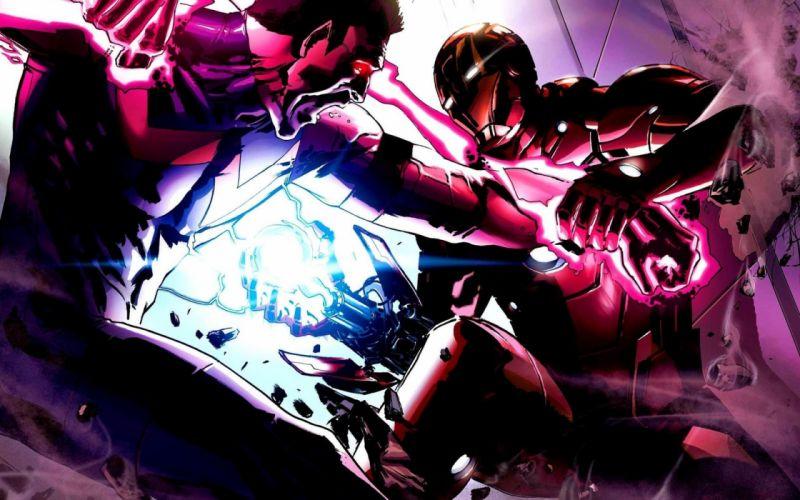 Iron Man vs Wonderman Avengers comics battle superhero art wallpaper