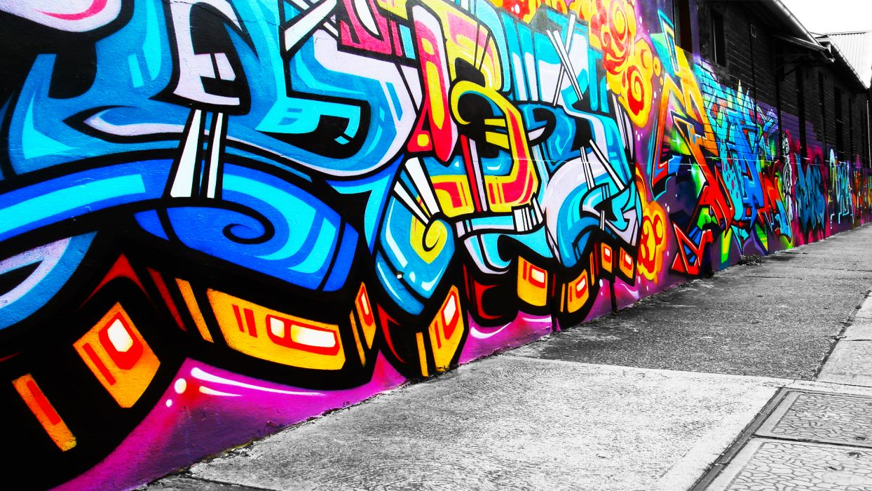urban art graffiti paint color psychedelic wall wallpaper