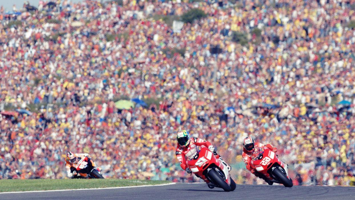 Ducati racing motorbikes race track crowd wallpaper