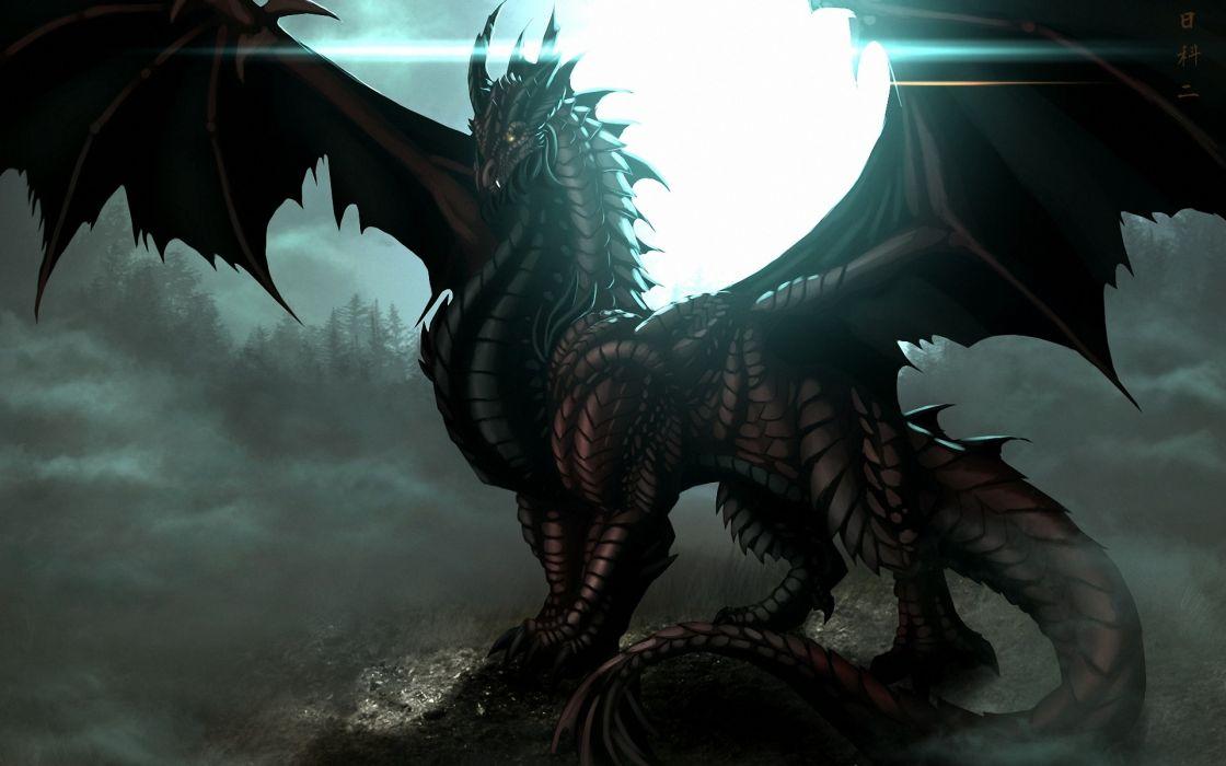 fantasy art dragon dark wallpaper