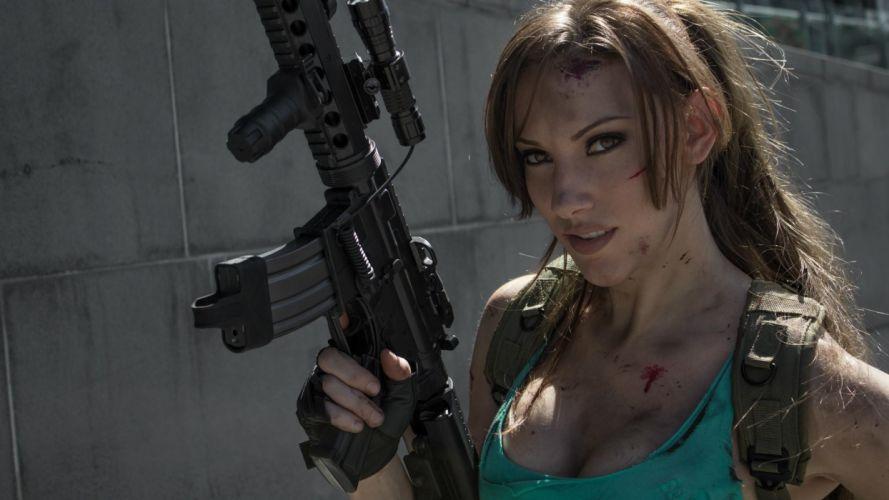 Lara Croft cosplay Tomb Raider jenncroftcosplay_com weapons guns assault rifles women brunette model sexy babes wallpaper