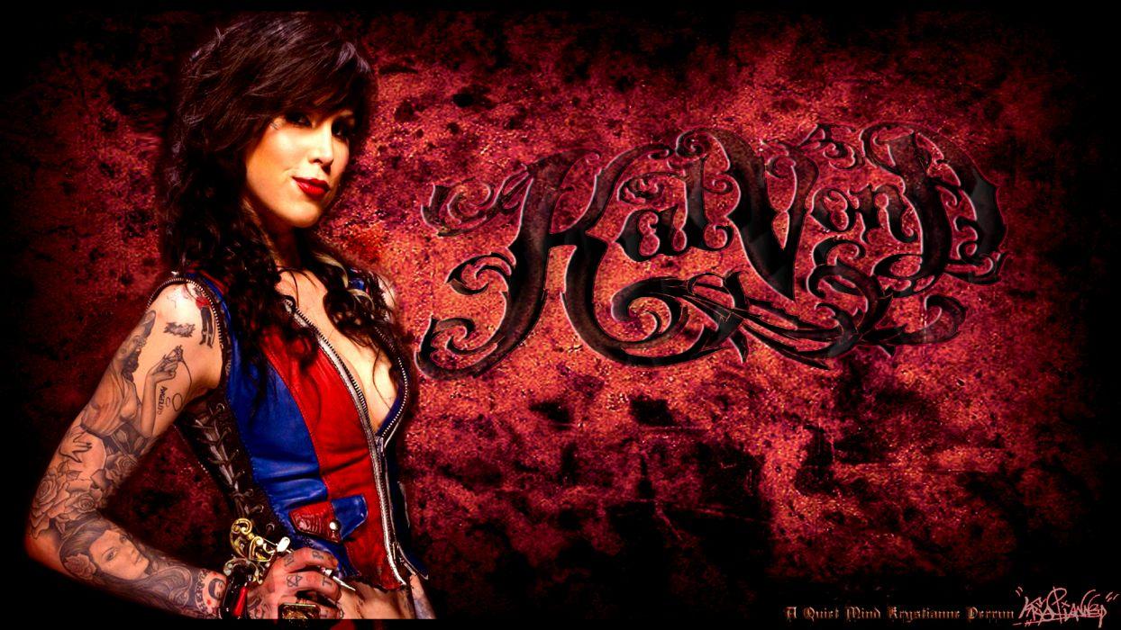 Kat Von D celeb tattoo gothic women models brunette sexy babes wallpaper
