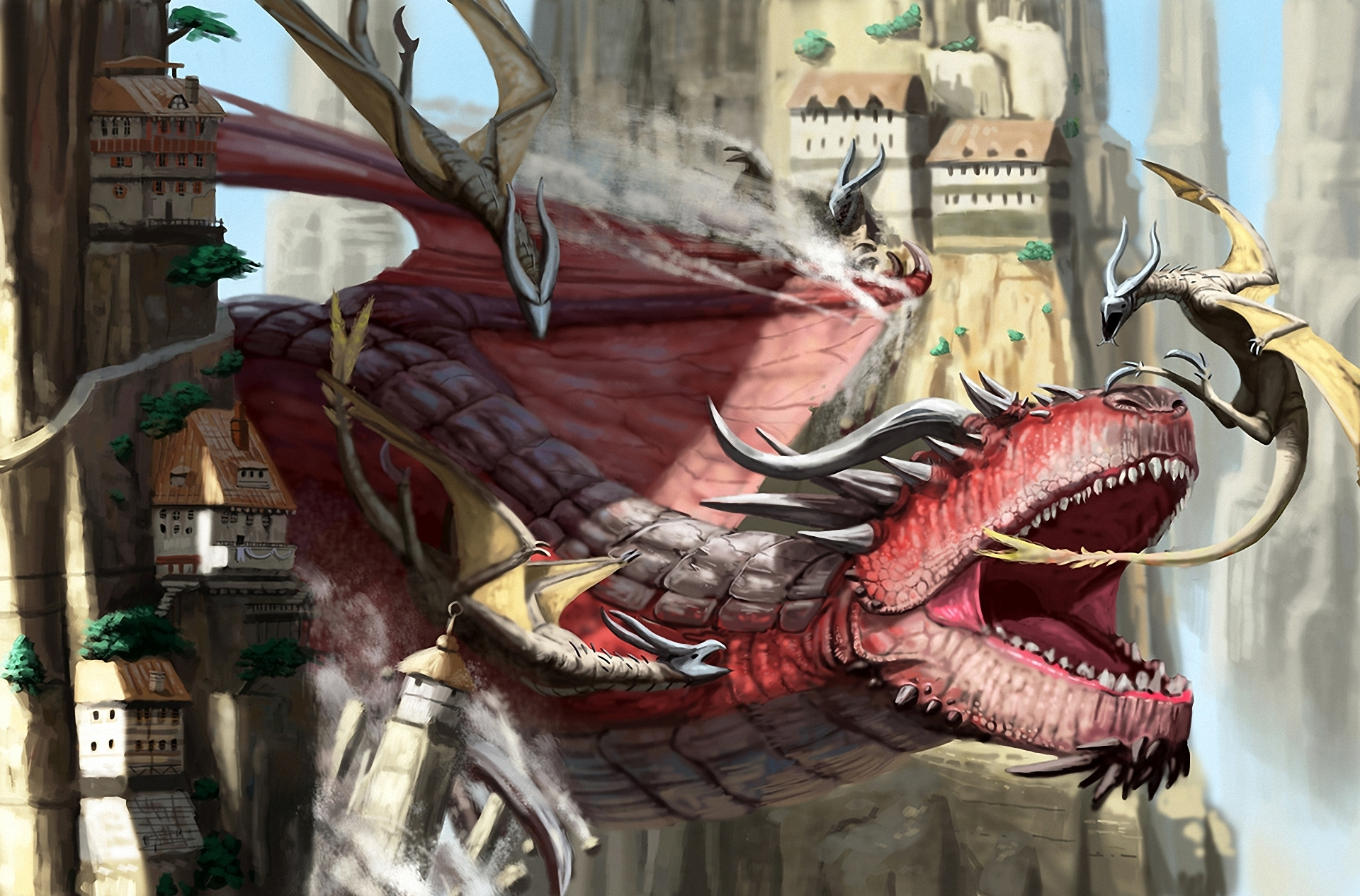 Fantasy Art Dragon Battle Castle Wallpaper 1920x1265
