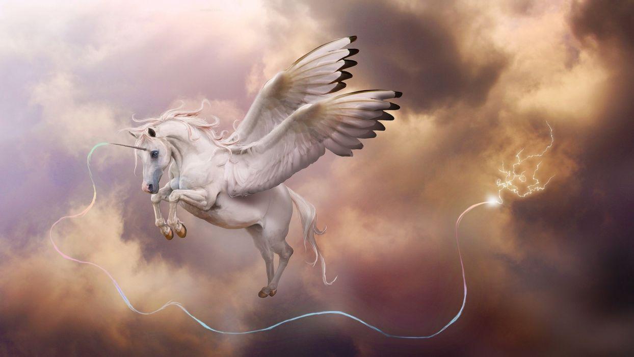 fantasy art unicorn Pegasus sky magic wallpaper