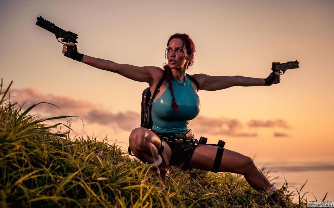 Bianca Beauchamp cosplay video games tomb raider weapons guns pistol redhead women model fetish sexy babes latex wallpaper
