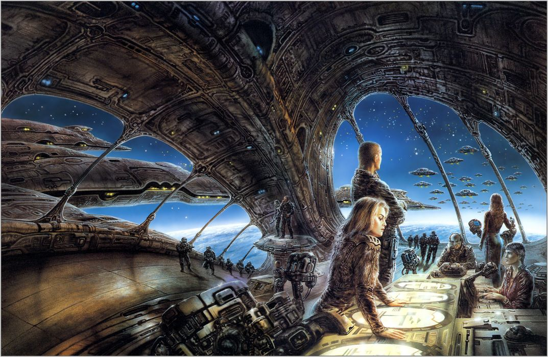 Luis Royo sci fi futuristic station spaceship spacecraft art space wallpaper