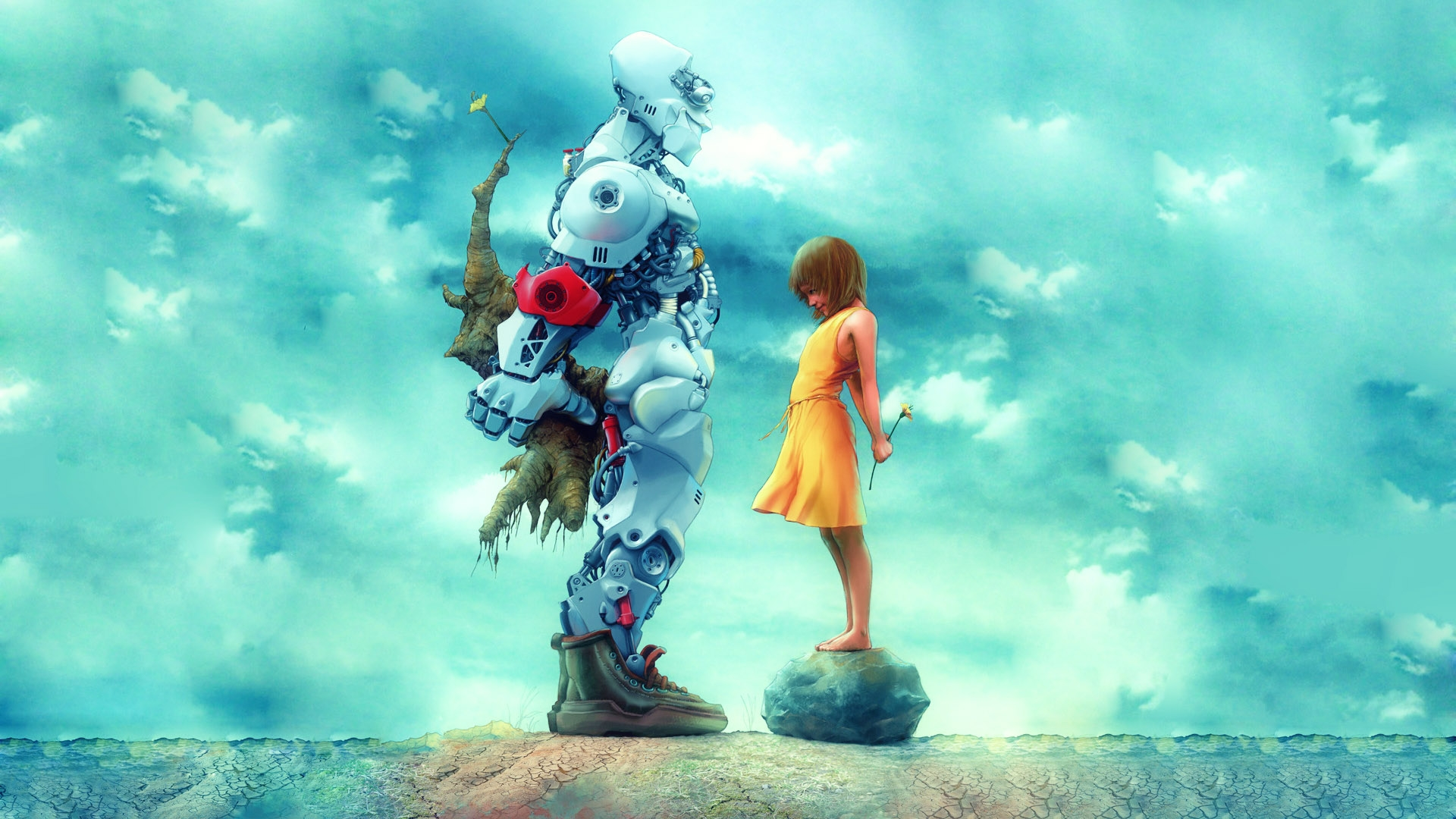 Sci Fi Futuristic Cyborg Robot Cute Children Art Mood