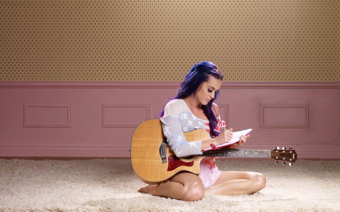 Katy Perry Guitar musician singer celeb actress women model brunette sexy babes wallpaper