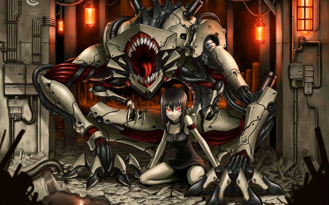 1680x1050 pixiv red eyes gia artist mechanical creature anime girls beasts robot sci fi wallpaper