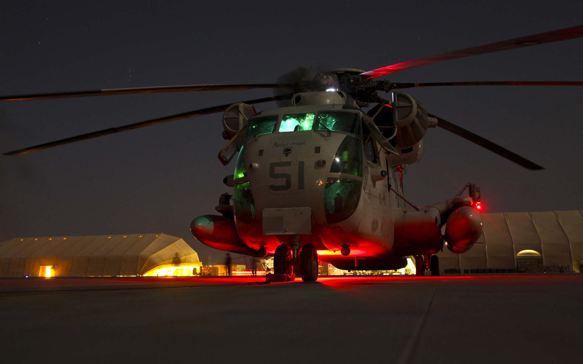 Marine Corps Night Helicopter Military Mech Wallpaper