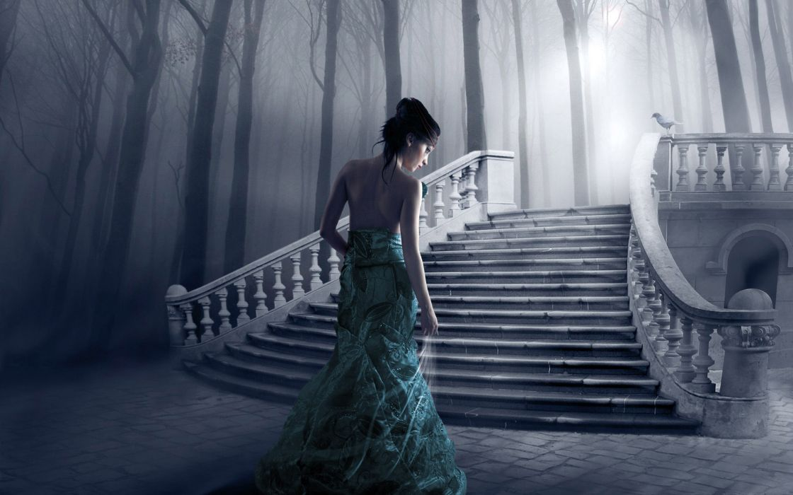 cg digital art manip gothic fantasy women gown style stairs tees forest mood wallpaper