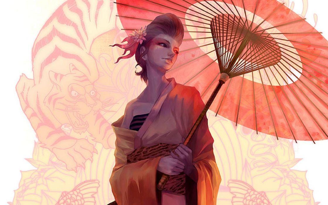 asian oriental fantasy art umbrella women wallpaper
