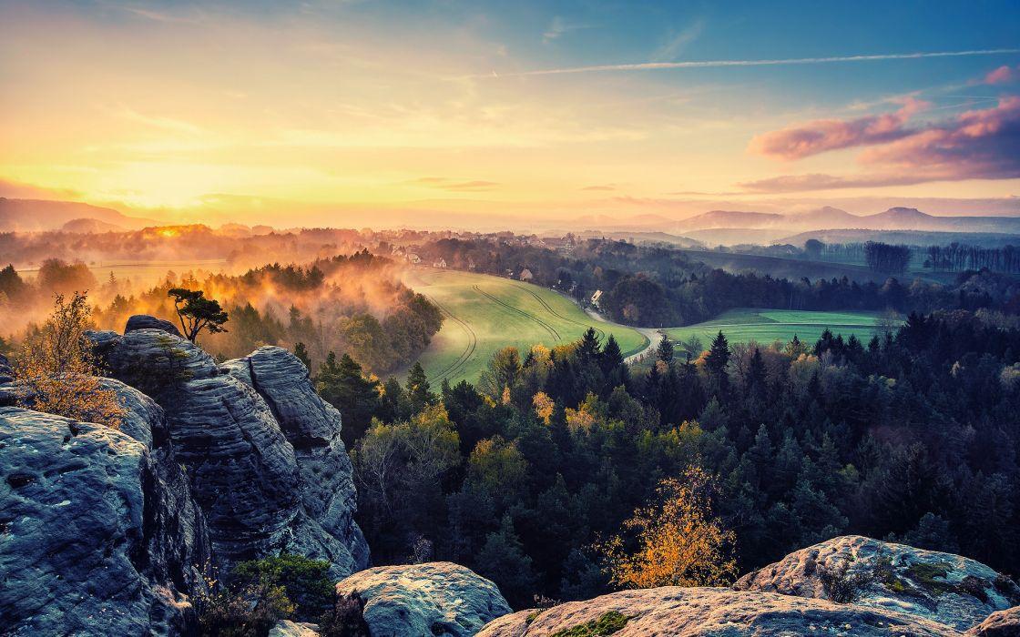 valley sun sky autumn fog rocks trees sunset sunrise sky trees forest wallpaper