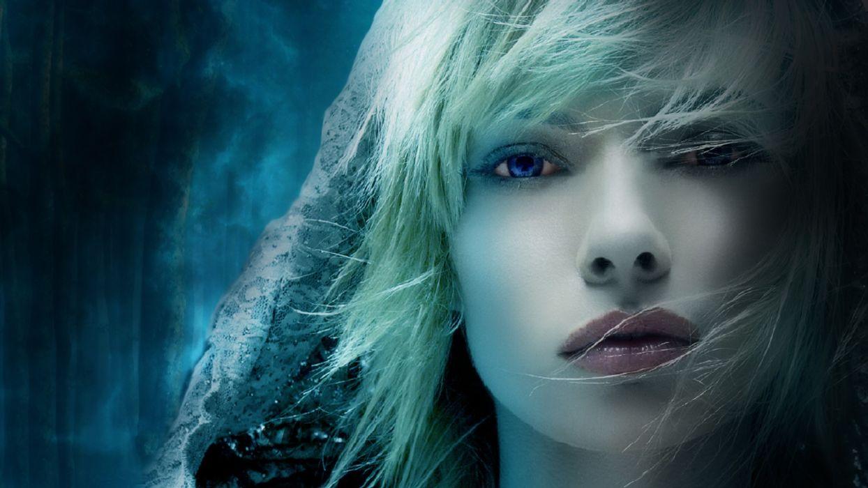 women model blonde face eyes wallpaper