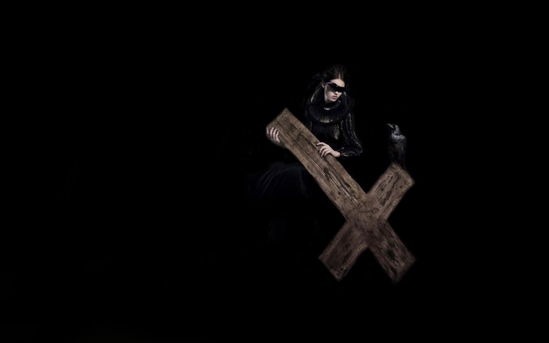 dark horror fantasy gothic cross evil woemn raven birds occult anti satan demon wallpaper