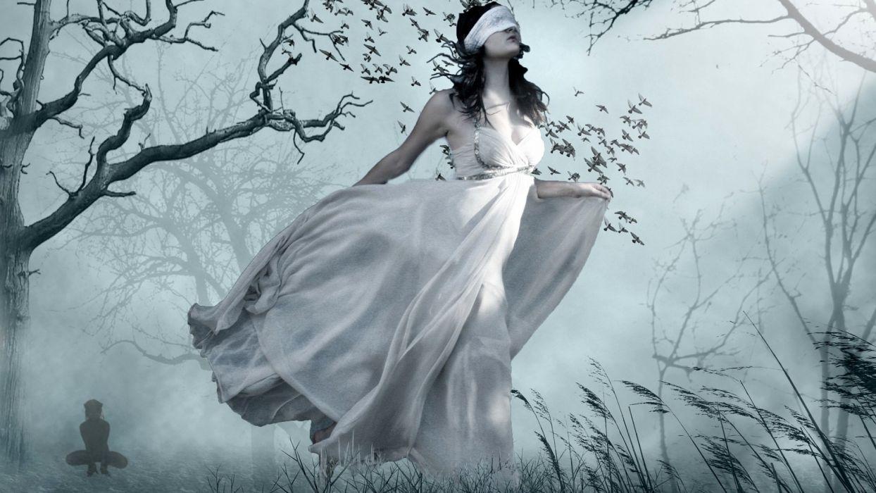 dark horror fantasy gothic mood women brunette trees forest lost cg digital manip wallpaper