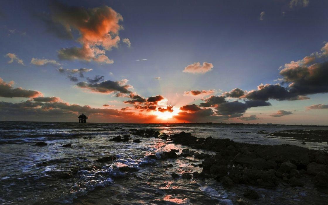 ocean sea lakes surise sky wallpaper