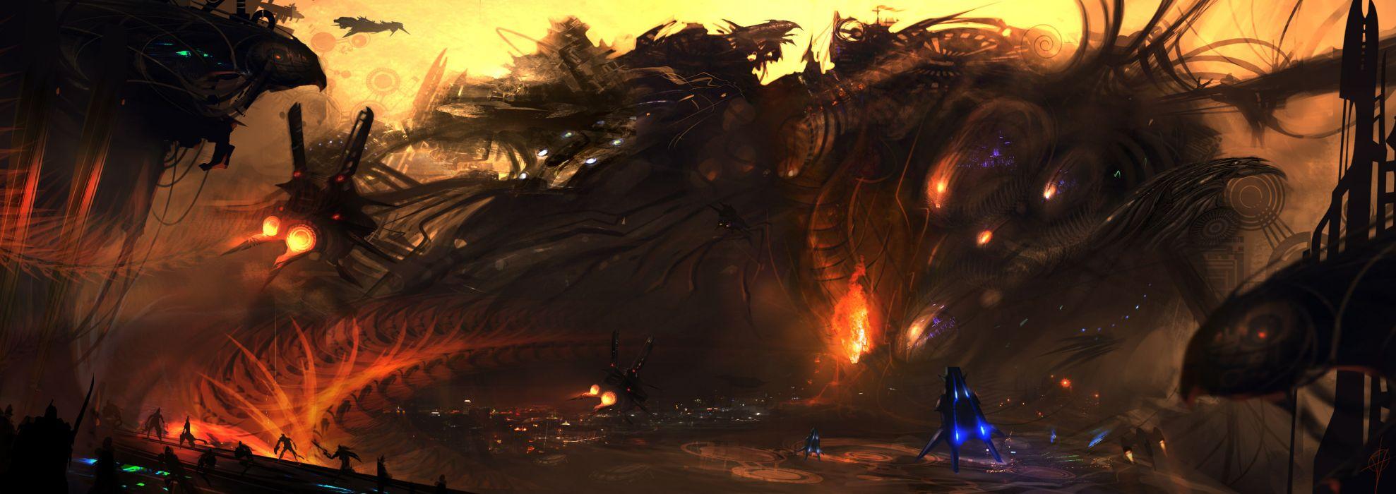 Multi Monitor Dual Screen sci fi art fantasy monster fire battle dark horror warrior wallpaper