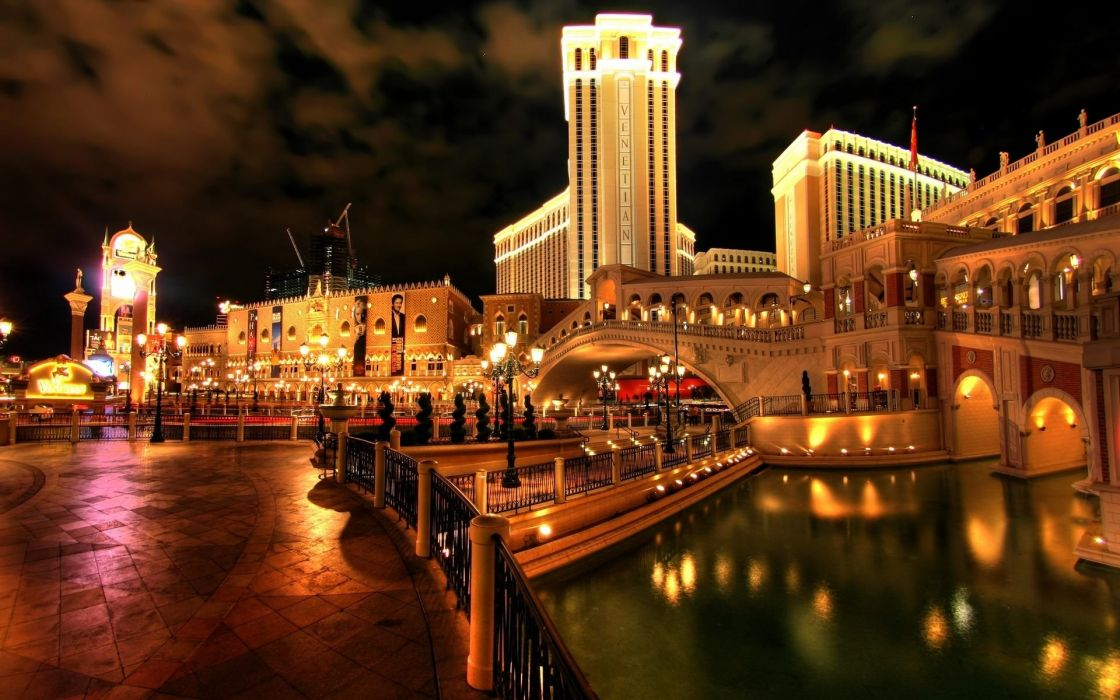 Italy casino buildings night hdr lights sky waterfront wallpaper