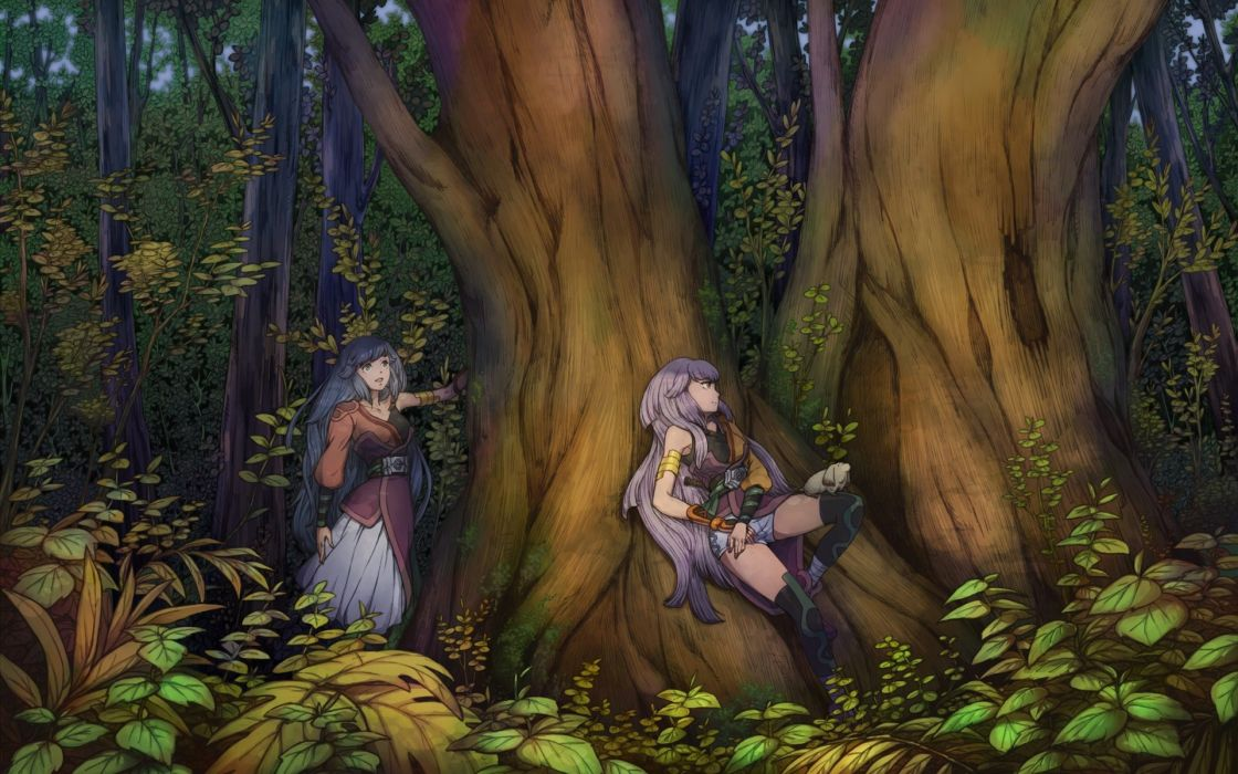 niratoro original fantasy art girl trees forest wallpaper
