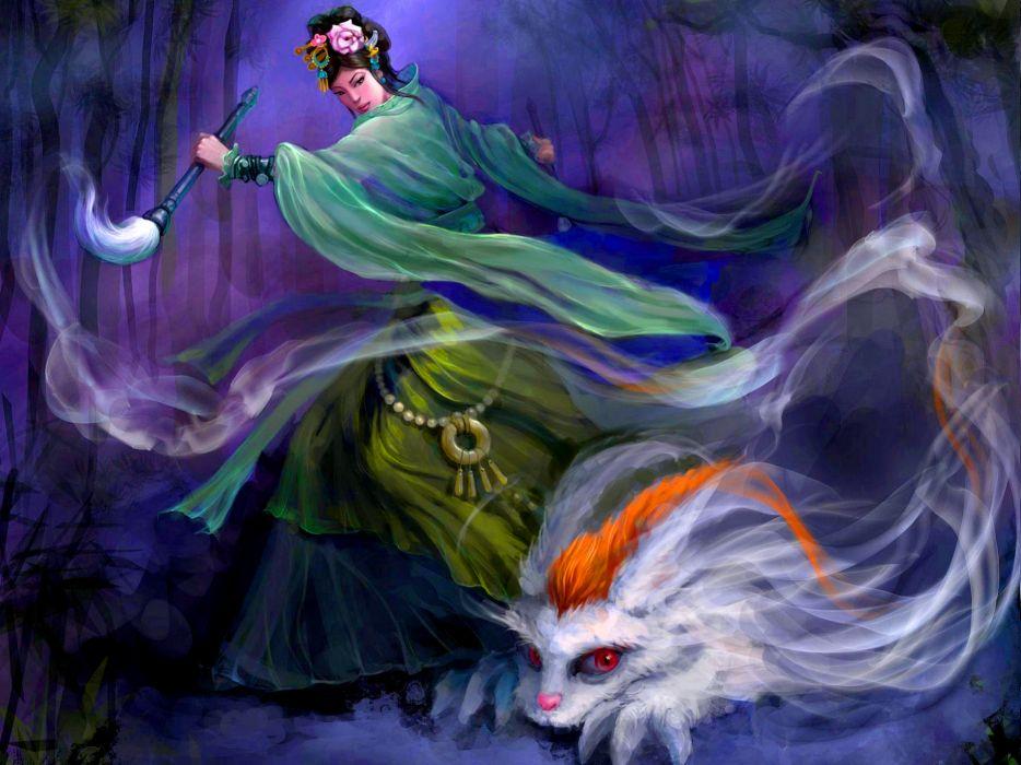 fantasy asian oriental magic monster creature women art trees forest wallpaper