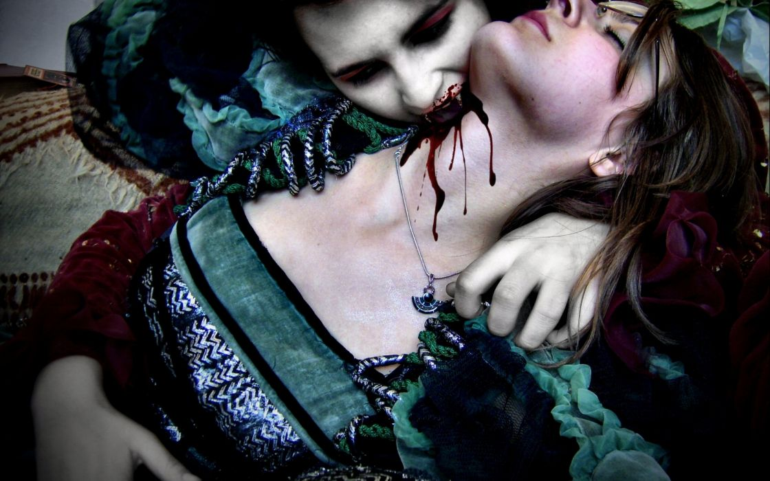 Dark Horror Fantasy Gothic Vampire Evil Gore Blood Macabre Men Women Mood Wallpaper