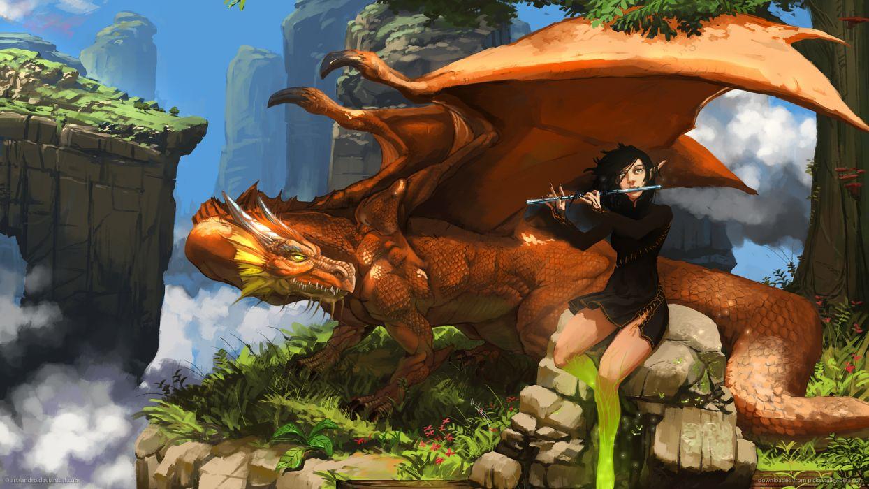 fantasy art dragon elf flute mood friends companion wallpaper