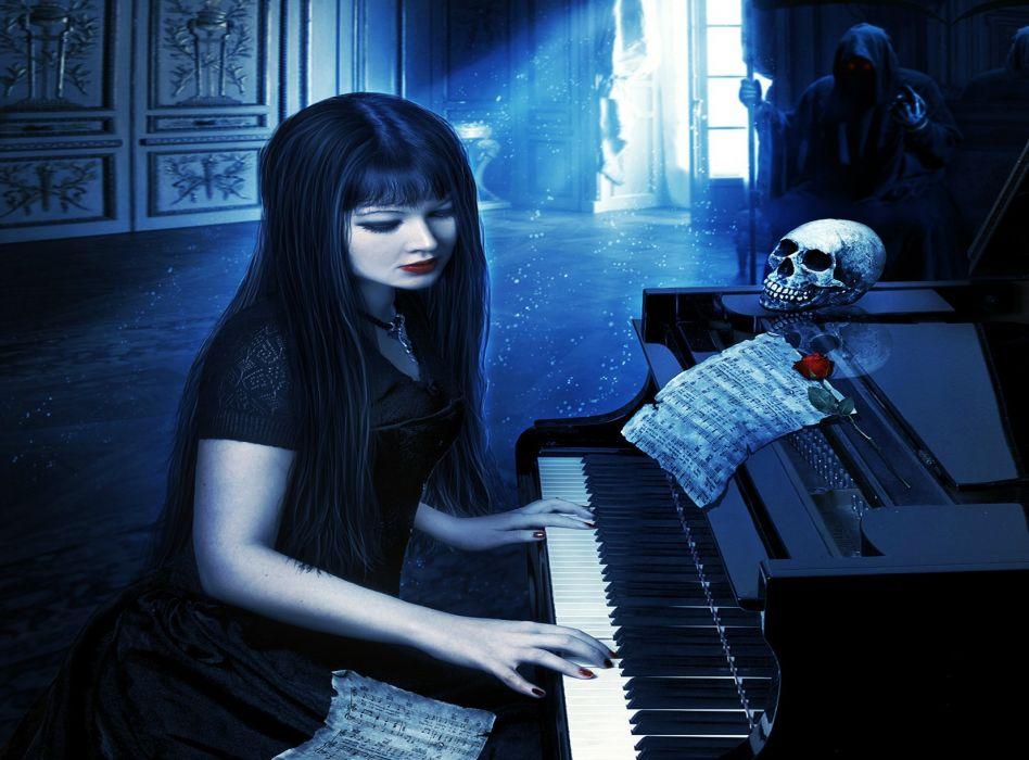 dark horror gothic fantasy women skull piano music women girl wallpaper
