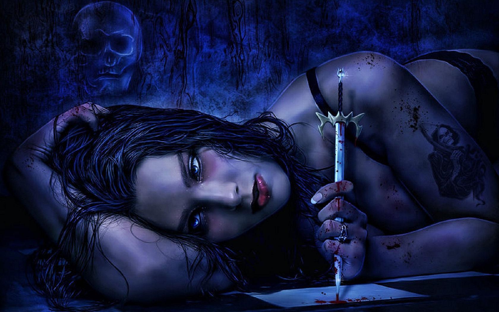 Anime girl gothic dark art wallpaper
