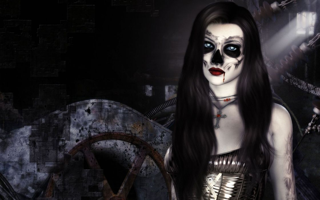 dark horror fantasy gothic 3d cg digital art vampire evil women face skull brunette wallpaper