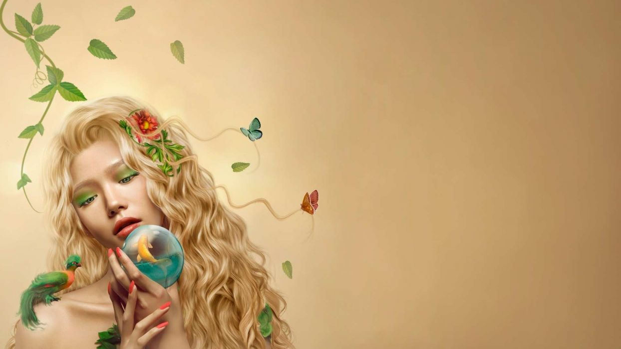 fantasy art mood nature women blonde fishes butterfly leaves face globe sphere birds wallpaper