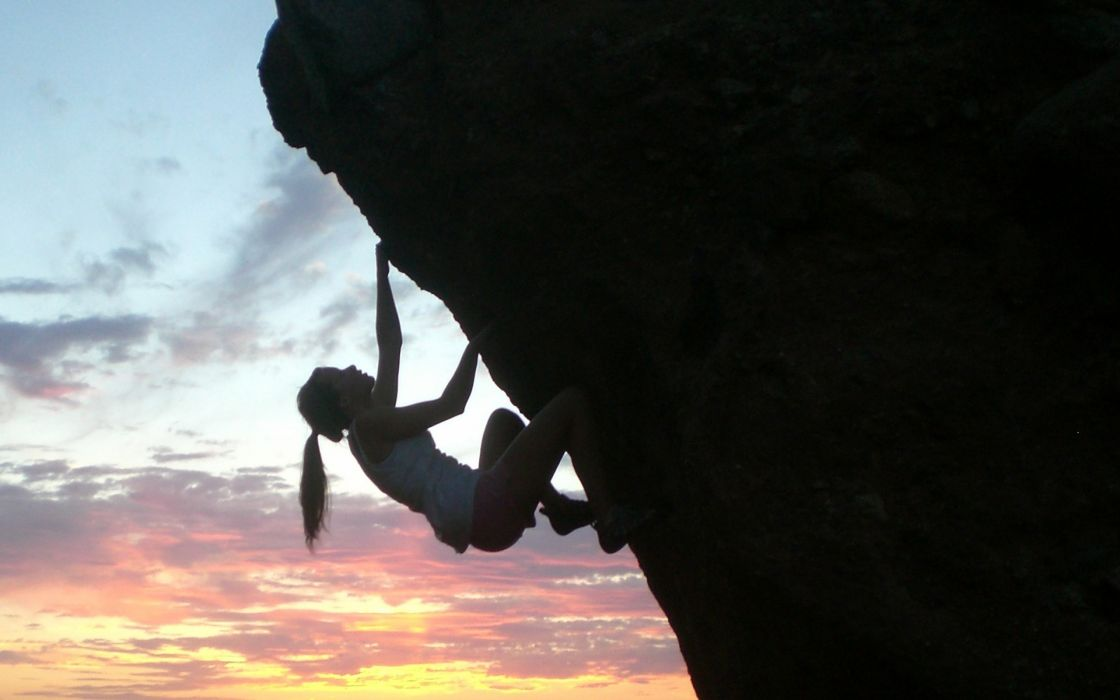 climbing sunset sky extreme women wallpaper