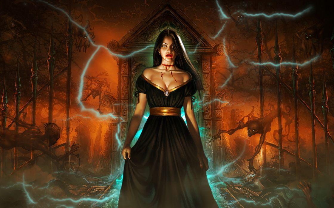 dark horror women fantasy gothic vampire evil sexy babes brunette halloween blood macabre wallpaper