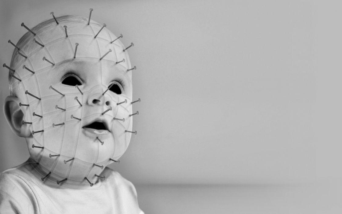 Pinhead Jr_ movies dark horror gothic macabre mask face babies children demon wallpaper