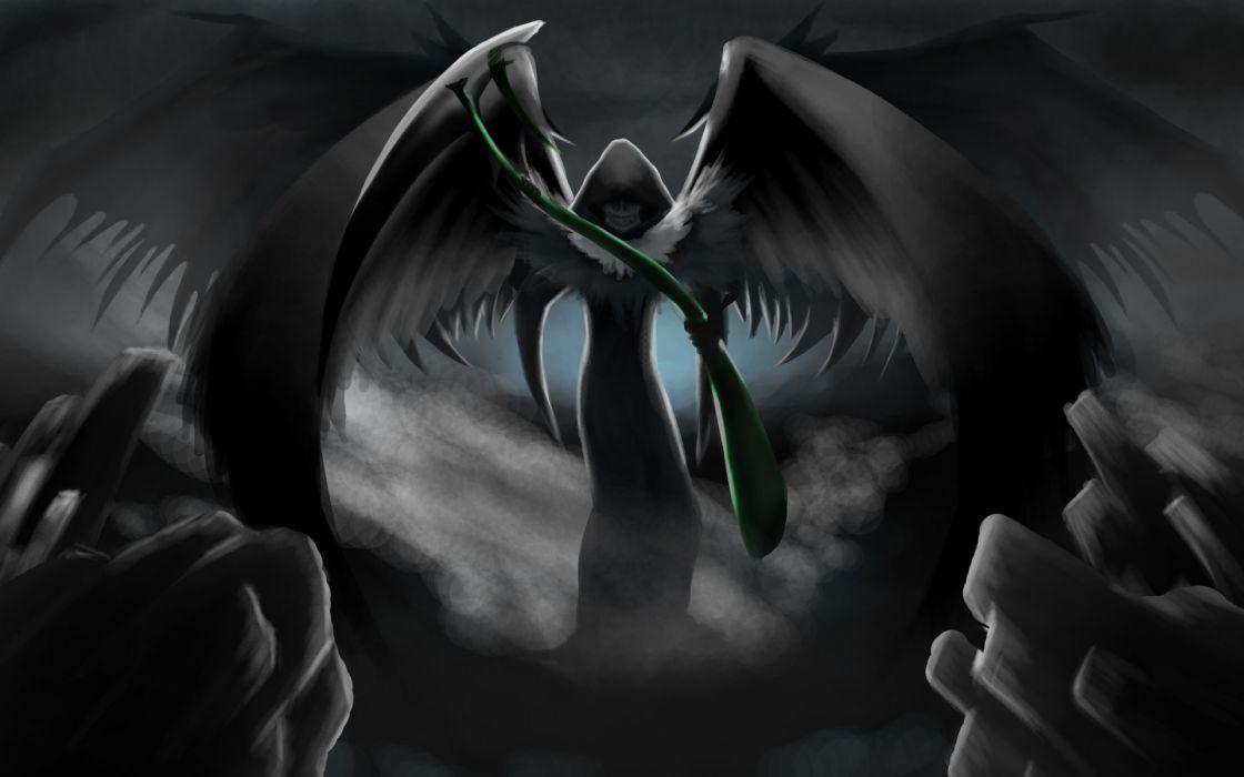 dark horror gothic fantasy grim reaper death angel art scythe weapon wallpaper