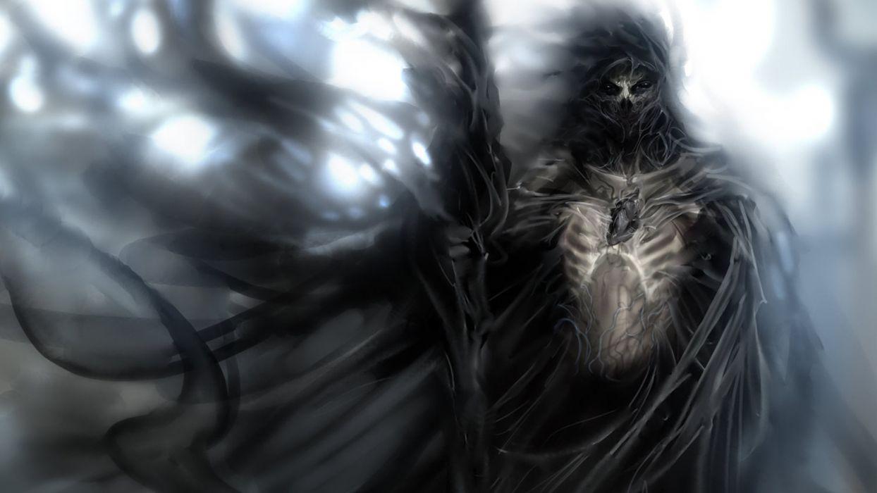 dark horror fantasy warrior demon weapons gothic skull mask art wallpaper