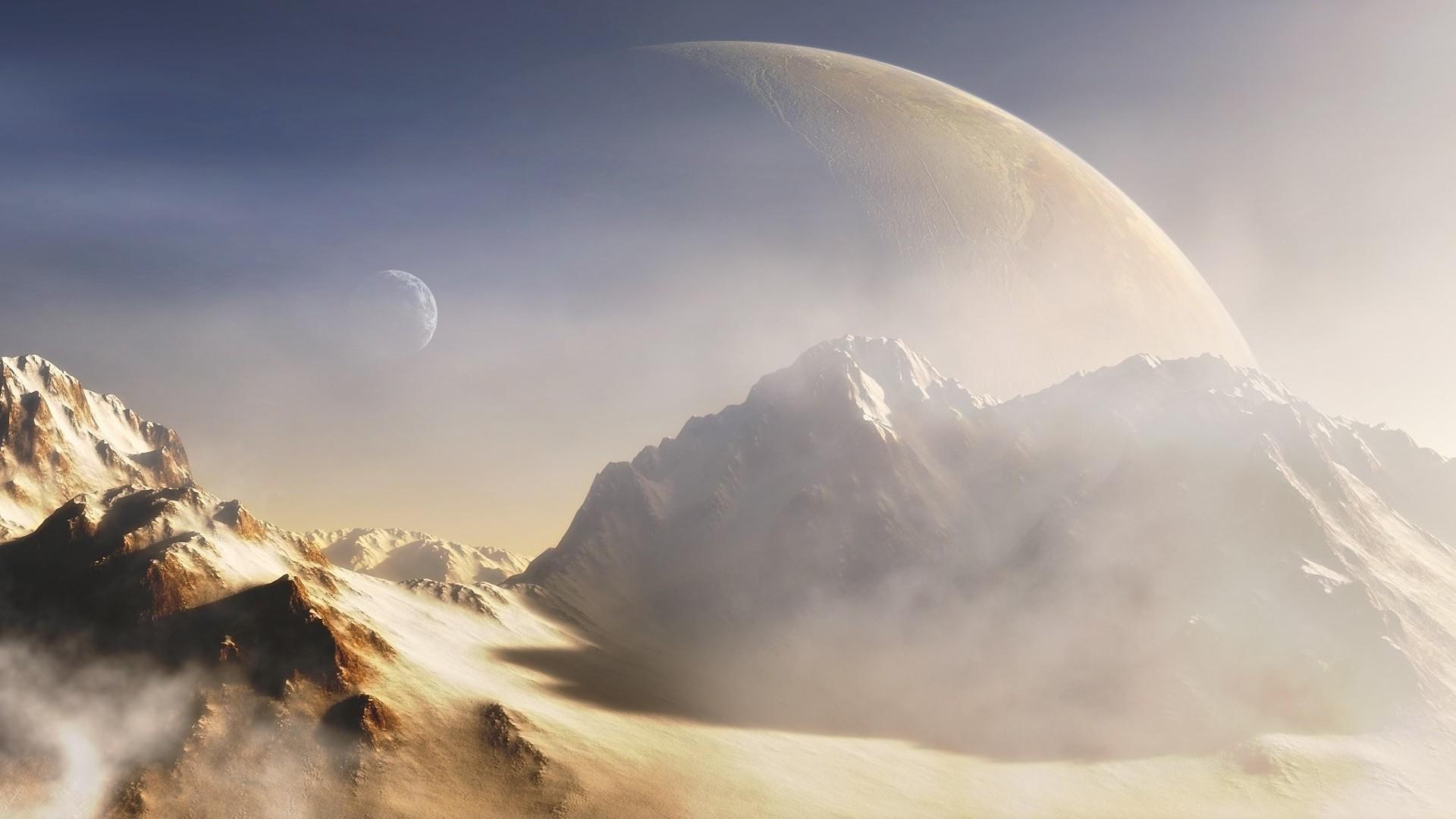 Планеты над горами  № 1163947 без смс