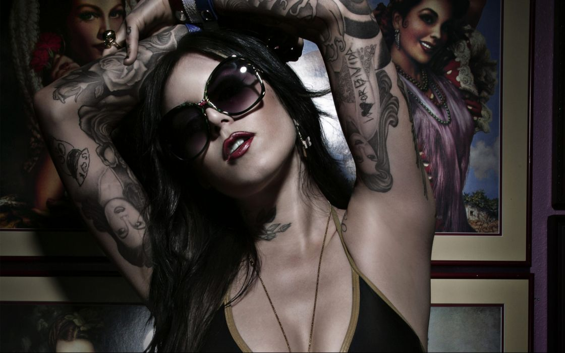 Kat Von D celeb gothic tattoo glasses women model brunettes face sexy babes wallpaper