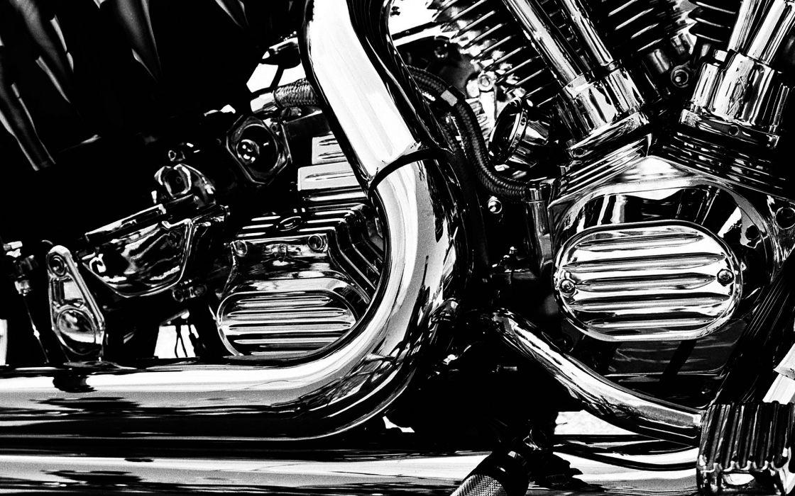 chrome engine motorbikes black white monochrome wallpaper